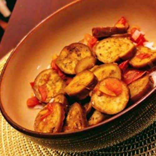 Indian spiced eggplant on a plate