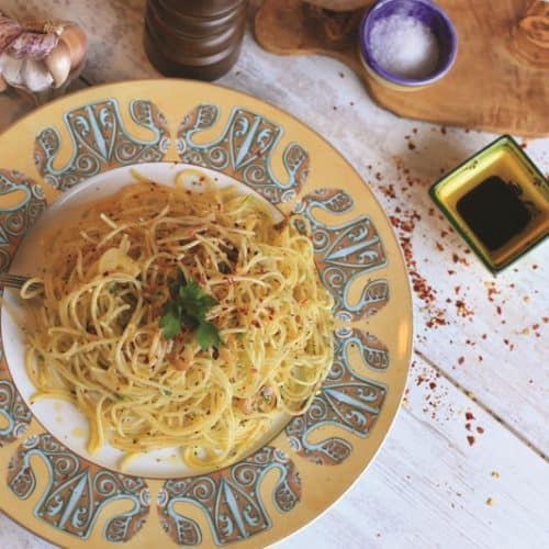 Spaghetti with Garlic Oil on a plate