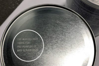 Bottom of can showing expiration date